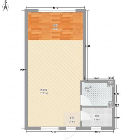 祥瑞家园1厅1卫1厨44.74㎡户型图