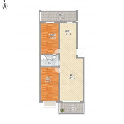 富江家园2室1厅1卫1厨120.00㎡户型图