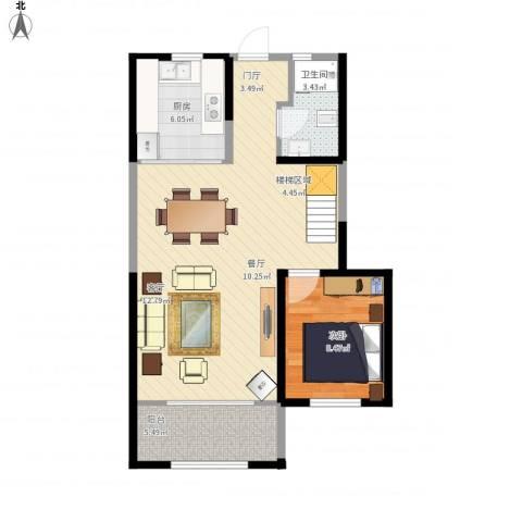 天朗蔚蓝东庭1室1厅1卫1厨76.00㎡户型图