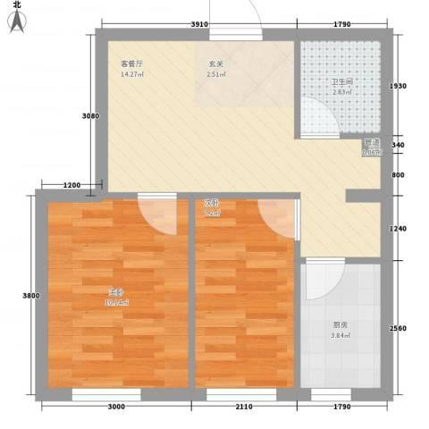 世纪枫景汇2室1厅1卫1厨55.00㎡户型图