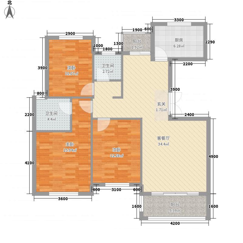 北城明珠11.78㎡D8B户型3室2厅2卫1厨