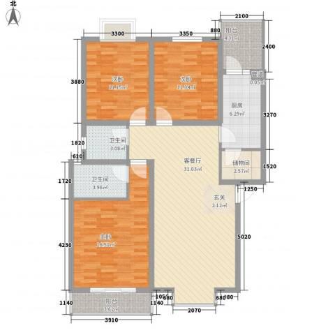 兴发城东逸景3室1厅2卫1厨112.00㎡户型图
