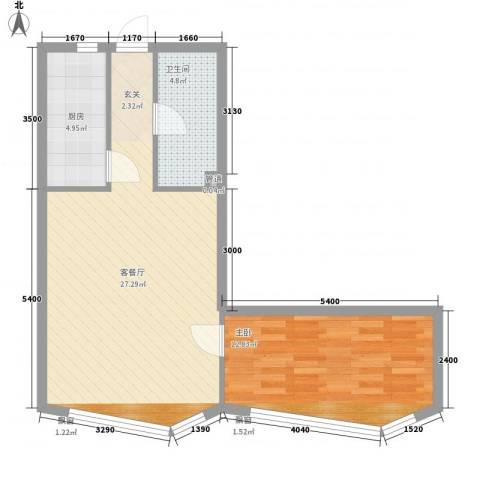 祥瑞家园1室1厅1卫1厨67.00㎡户型图