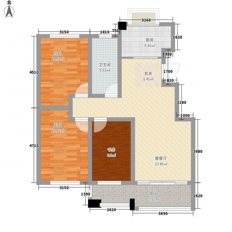 淄博晓月花园115.00㎡18号楼标准层户型3室2厅1卫1厨