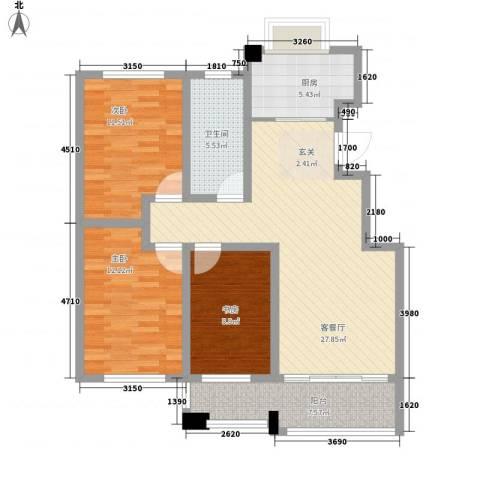 淄博晓月花园3室1厅1卫1厨115.00㎡户型图