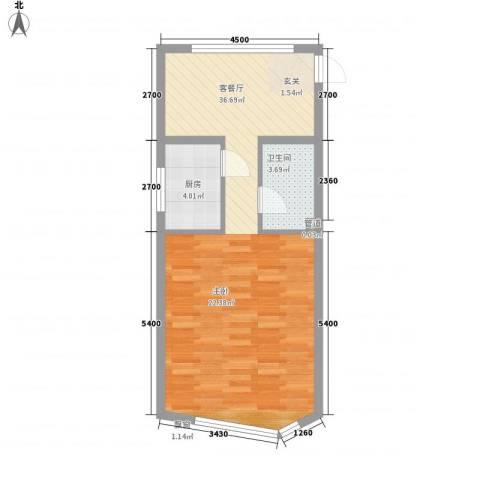祥瑞家园1厅1卫1厨44.41㎡户型图