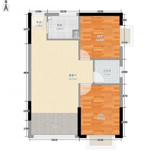 龙泉名府2室1厅1卫1厨85.00㎡户型图