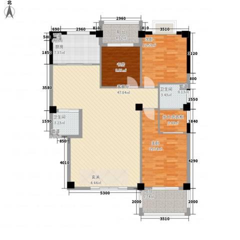 彩虹湾佳园3室1厅2卫1厨146.00㎡户型图
