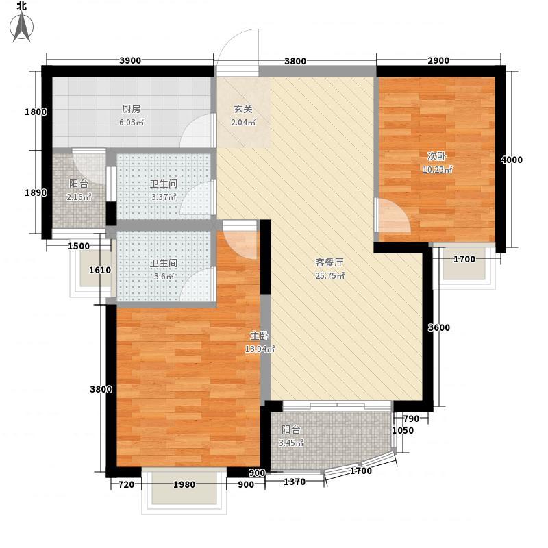 雅居乐维也纳森林8.78㎡19#楼B5-2户型2室2厅2卫1厨