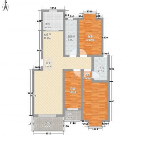 汇景仕嘉3室1厅2卫1厨125.00㎡户型图