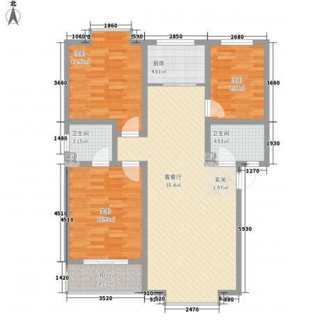 汇景仕嘉3室1厅2卫1厨124.00㎡户型图