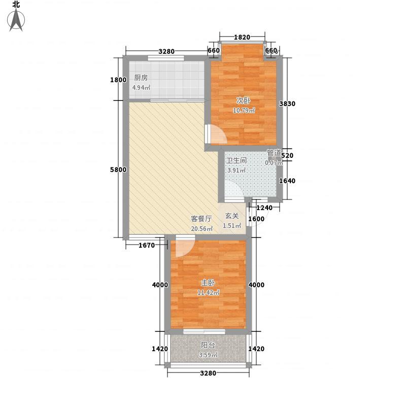 汇景仕嘉7.18㎡D4户型2室1厅1卫1厨