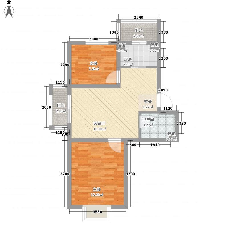 西湖俪景6.80㎡C户型2室2厅1卫1厨