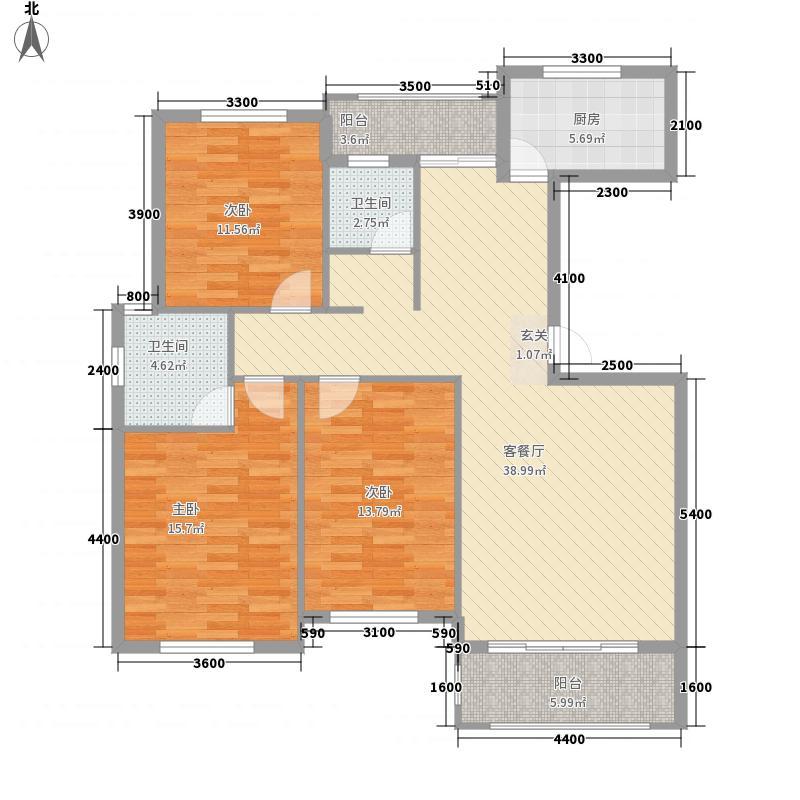 北城明珠126.00㎡D11A户型3室2厅2卫
