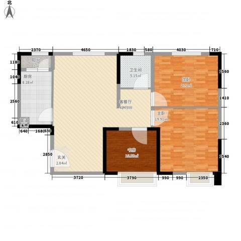 东方名都3室1厅1卫1厨147.00㎡户型图