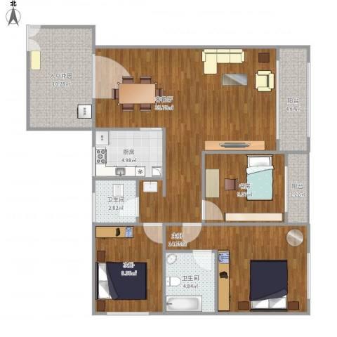 恒远帝都新城3室1厅2卫1厨131.00㎡户型图
