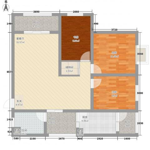 兴发城东逸景3室1厅1卫1厨84.28㎡户型图