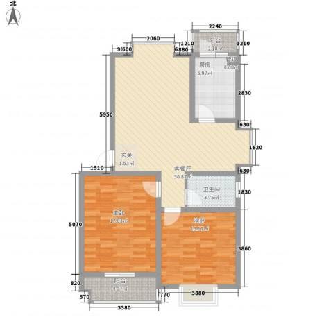 兴发城东逸景2室1厅1卫1厨84.00㎡户型图