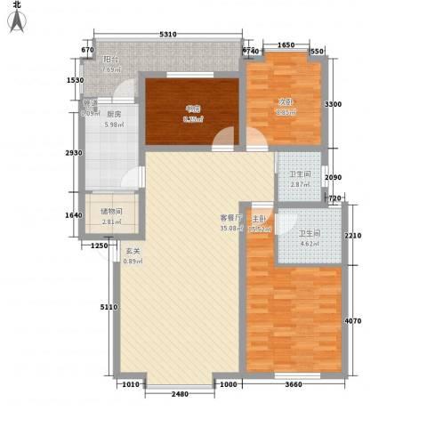 兴发城东逸景3室1厅2卫1厨122.00㎡户型图