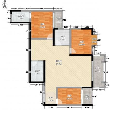 碧园花城3室1厅2卫1厨135.00㎡户型图
