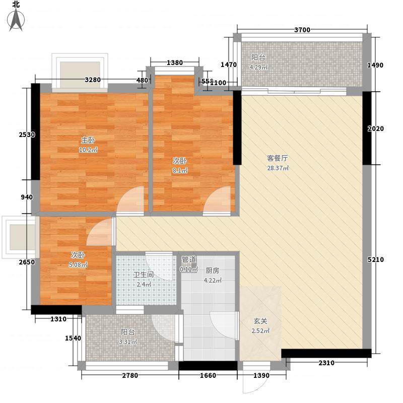 美陶花园83.00㎡9座3-18层标准层05单元户型3室2厅1卫
