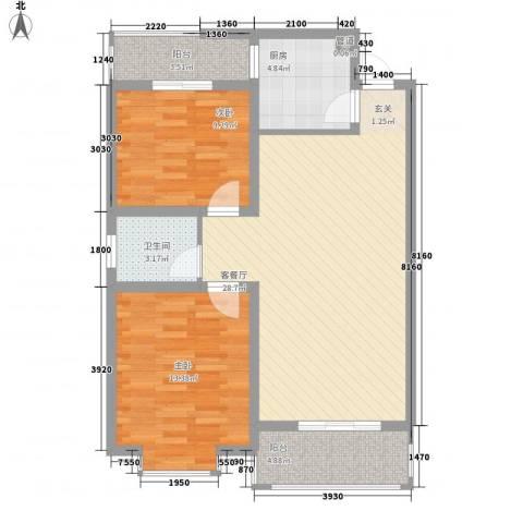 兴发城东逸景2室1厅1卫1厨86.00㎡户型图