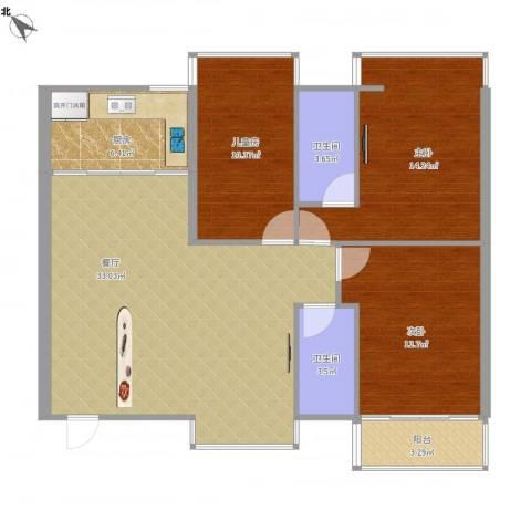 石岩鸿景花园3室1厅2卫1厨119.00㎡户型图