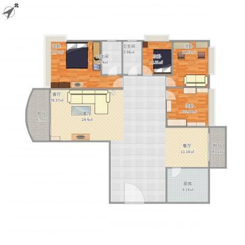 恒大绿洲4室1厅2卫1厨198.00㎡户型图