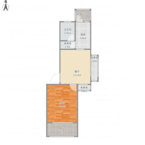 海棠花园1室1厅1卫1厨65.00㎡户型图