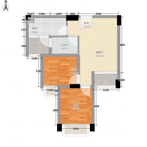 水木清晖园2室1厅1卫1厨64.00㎡户型图