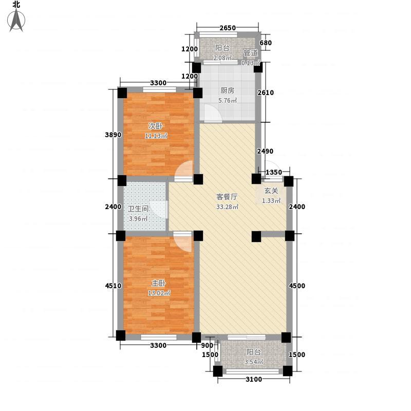 慧缘博雅6.51㎡E户型2室2厅1卫