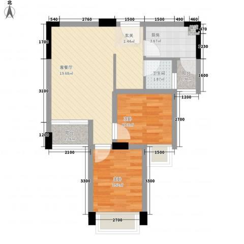 水木清晖园2室1厅1卫1厨65.00㎡户型图