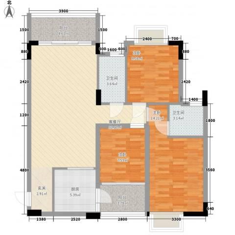 水木清晖园3室1厅2卫1厨81.62㎡户型图