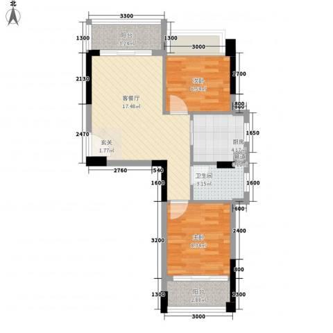 水木清晖园2室1厅1卫1厨66.00㎡户型图