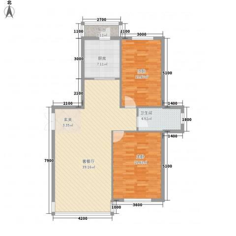 祥瑞家园2室1厅1卫1厨115.00㎡户型图