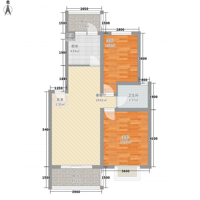 新加坡城76.20㎡别致户型2室2厅1卫1厨