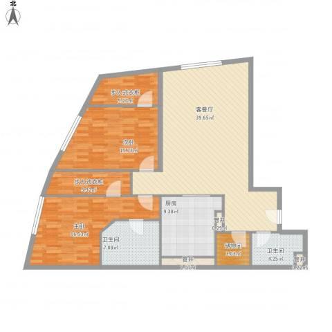 新地国际公寓苏寓2室1厅2卫1厨150.00㎡户型图