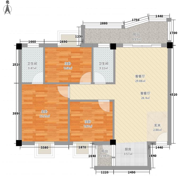 昌泰盛世家园11.34㎡L户型3室2厅2卫1厨