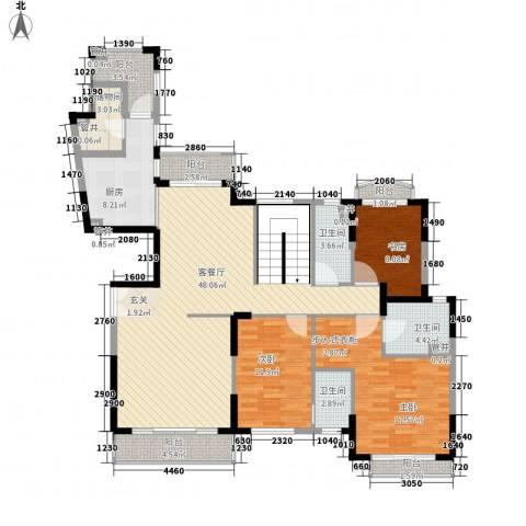 东海湾3室1厅3卫1厨348.00㎡户型图