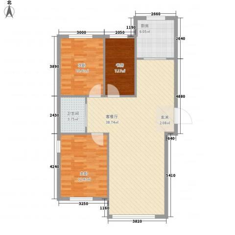 富甲之邦3室1厅1卫1厨78.65㎡户型图