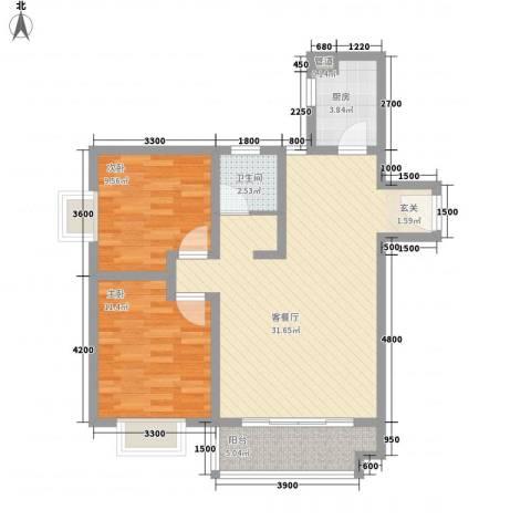 恒丰天湘华庭2室1厅1卫1厨88.00㎡户型图