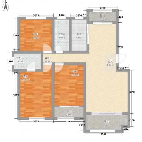 枫林绿洲3室1厅2卫1厨125.00㎡户型图