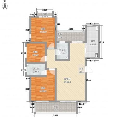 教授花园IV期碧山临海3室1厅2卫1厨126.00㎡户型图