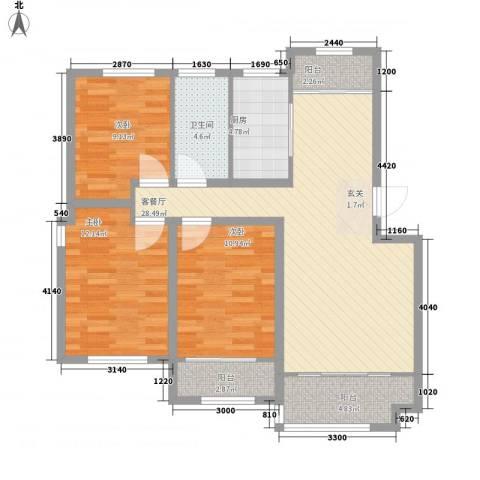 枫林绿洲3室1厅1卫1厨115.00㎡户型图