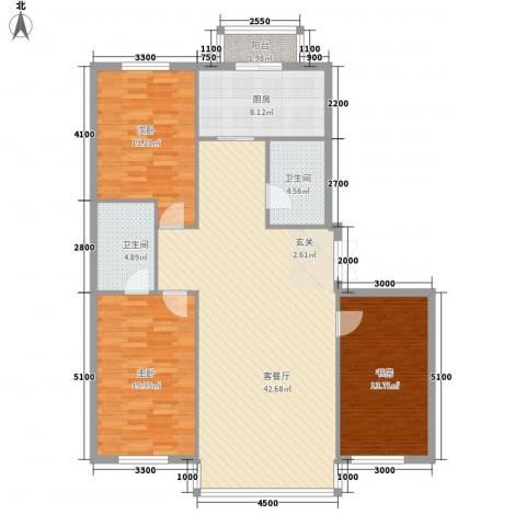 祥瑞家园3室1厅2卫1厨143.00㎡户型图