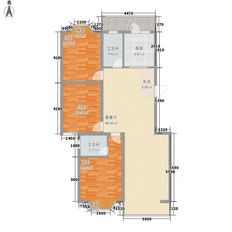 盛世华庭B6145.20㎡A户型3室2厅2卫