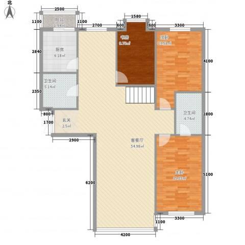 祥瑞家园3室1厅2卫1厨111.67㎡户型图