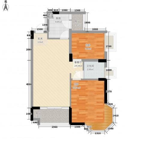 水木清晖园2室1厅1卫1厨78.00㎡户型图