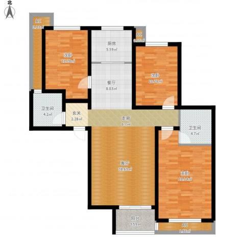 新源燕府3室1厅2卫1厨149.00㎡户型图
