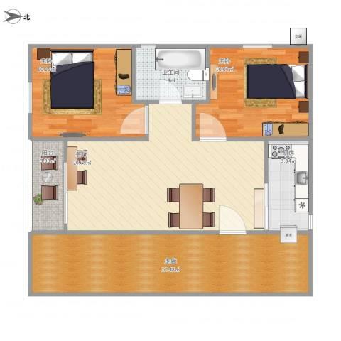 长安长盛新村2室1厅1卫1厨94.00㎡户型图